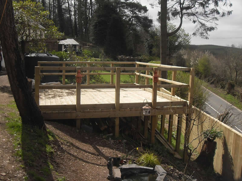 Decking in the sun side view