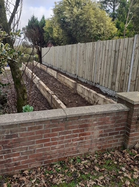 New fencing and the raised bed border.