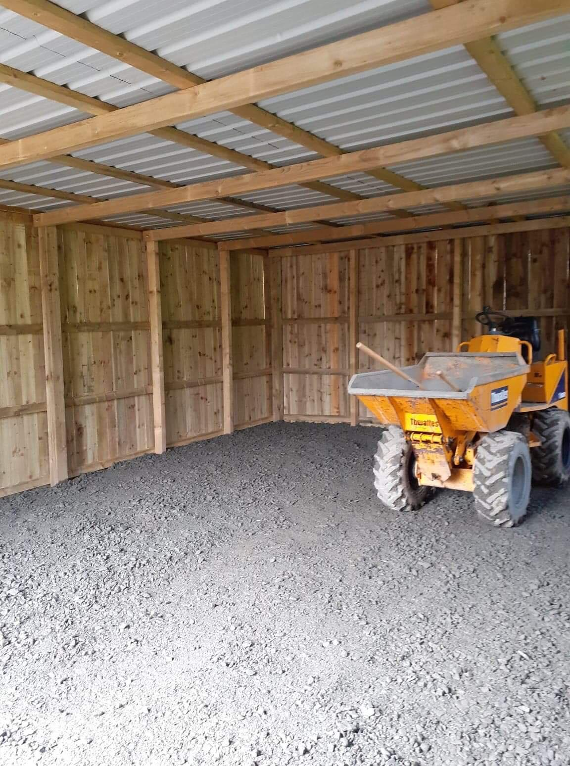 Inside the Storage shed, with small dumper truck