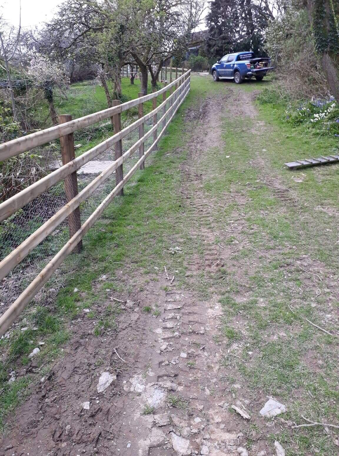 Post and rail wooden fencing