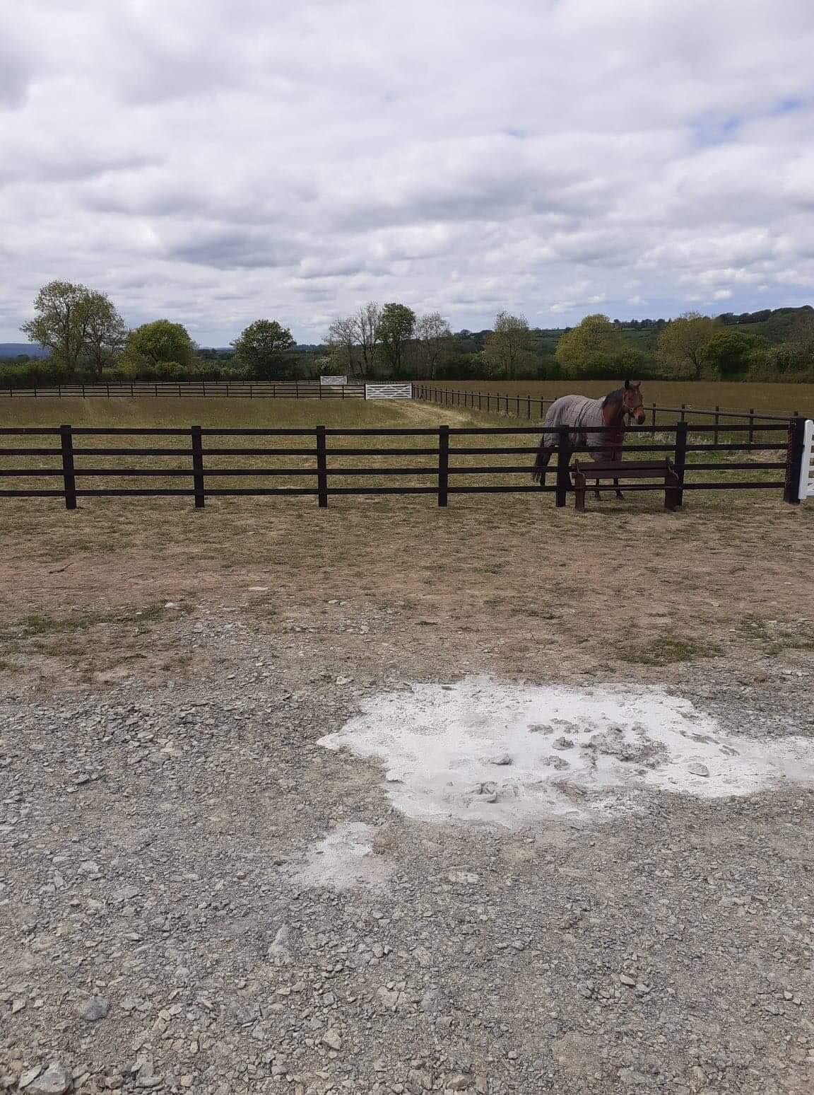Post and Rail fencing and white gates